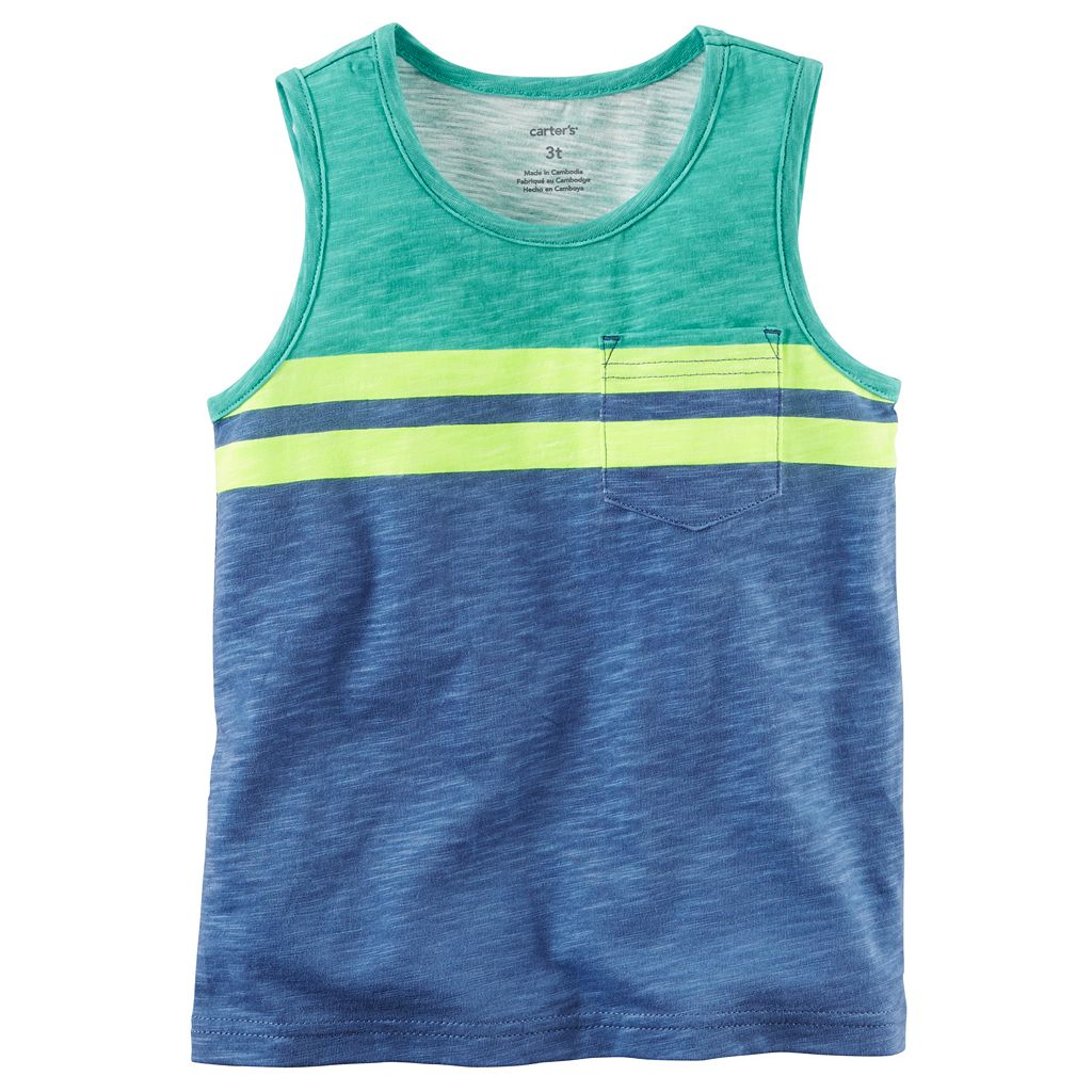 Boys 4-8 Carter's Slubbed Colorblock Striped Pocket Tank Top
