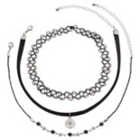 Mudd® Compass Charm, Beaded & Tattoo Choker Necklace Set