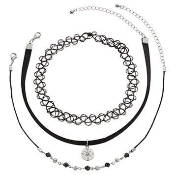 Mudd® Compass Charm, Beaded & Tattoo Choker Necklace Set