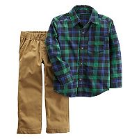 Toddler Boy Carter's 2-pc. Flannel Plaid Shirt & Khaki Pants Set