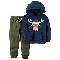 Toddler Boy Carter's 2-pc. Moose Pullover Hoodie & Fleece Pants Set
