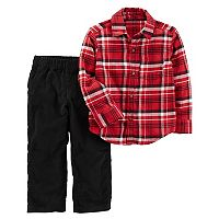 Toddler Boy Carter's 2 pc Flannel Plaid Shirt & Corduroy Pants Set