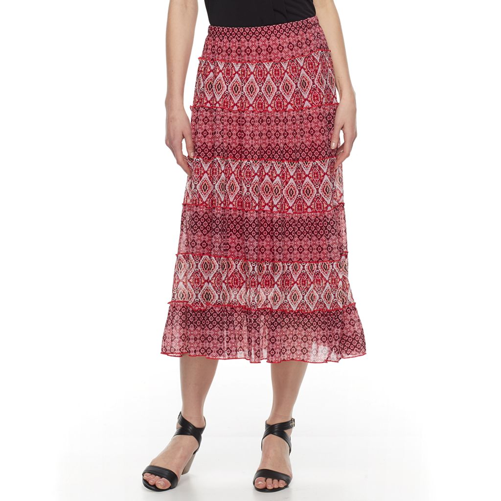 Women's Dana Buchman Tiered Midi Skirt