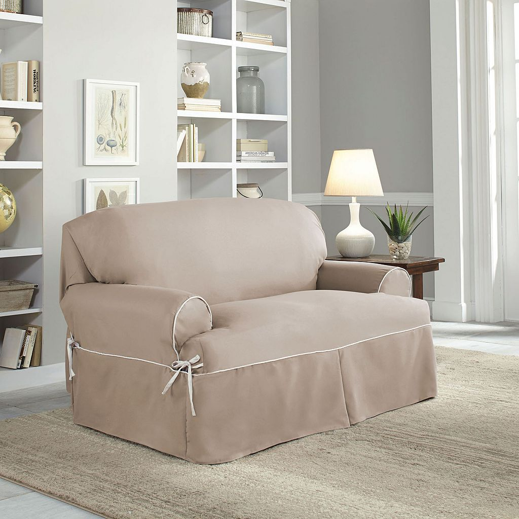 Serta Relaxed Fit Twill Loveseat Slipcover