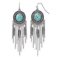 Mudd® Simulated Turquoise Cabochon Nickel Free Fringe Drop Earrings