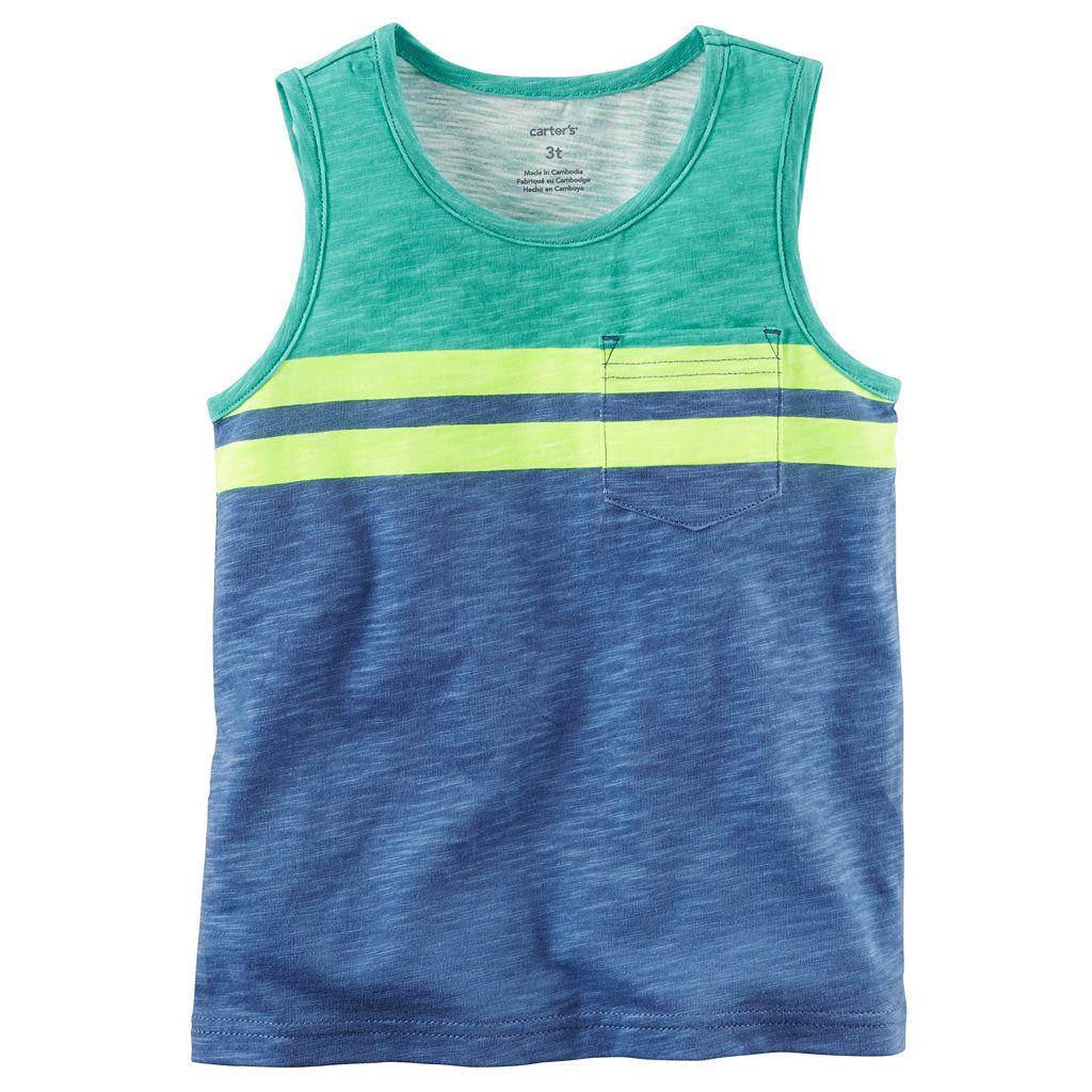 Baby Boy Carter's Slubbed Colorblock Striped Pocket Tank Top