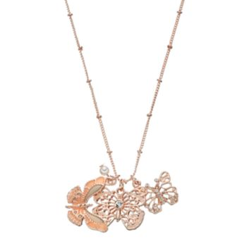 Mudd® Triple Butterfly Charm Long Necklace