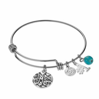 "love this life Simulated Turquoise ""#1 Mom"" Charm Bangle Bracelet"