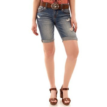 Juniors' Wallflower Belted Luscious Curvy Bermuda Shorts