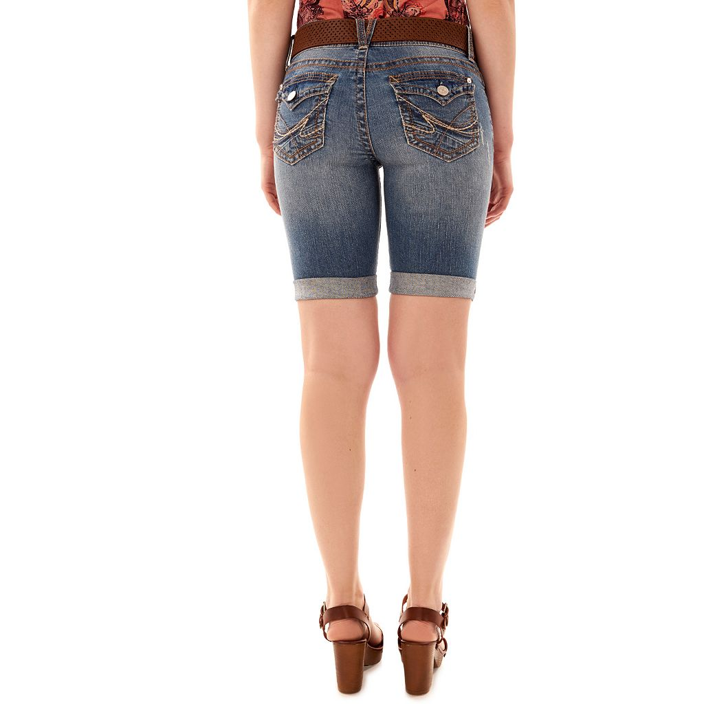 Juniors' Wallflower Belted Luscious Curvy Bermuda Shorts