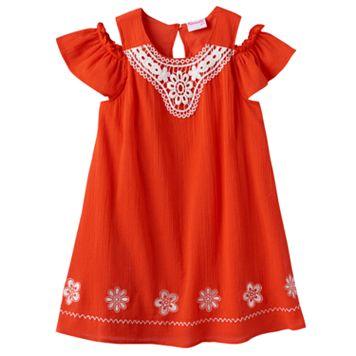 Toddler Girl Nannette Embroidered Off-the-Shoulder Gauze Dress