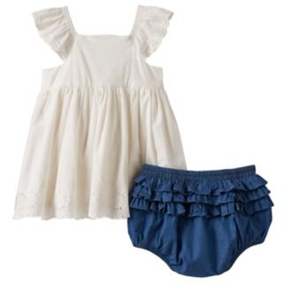 Baby Girl Nannette Eyelet Butterfly Top & Bloomers Set
