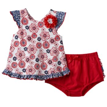 Baby Girl Nannette Floral Ruffle Top & Bloomers Set