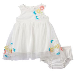 Baby Girl Nannette Flower Applique Dress & Bloomer Set