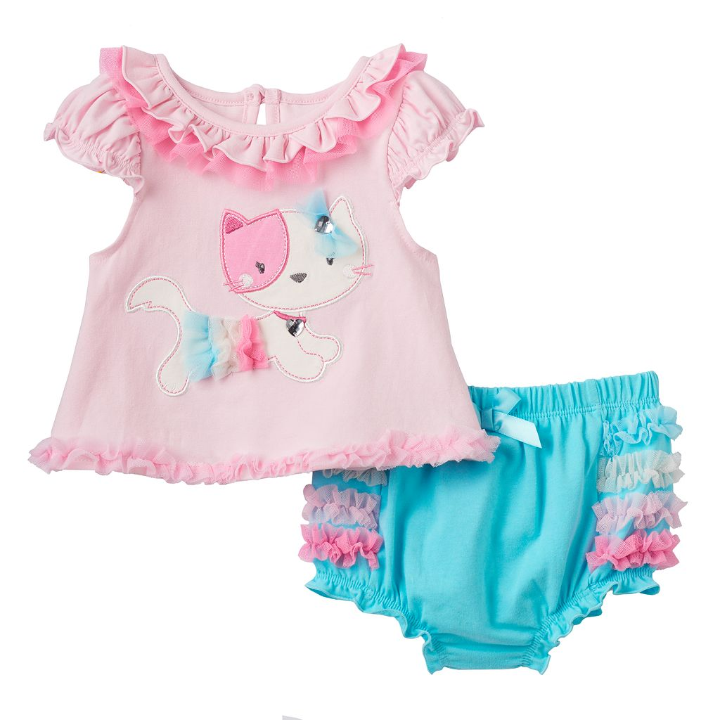 Baby Girl Nannette Embellished Kitty Top & Ruffled Bloomers Set