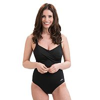 Women's Dolfin Aquashape Bust Enhancer Twist Front One-Piece Swimsuit