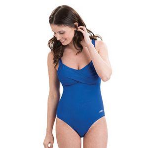 Plus Size Dolfin Aquashape Bust Enhancer Twist Front One-Piece Swimsuit