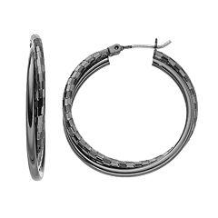 Jet Crisscross Nickel Free Double Hoop Earrings