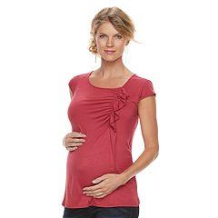 Maternity a:glow Asymmetrical Ruffle Top