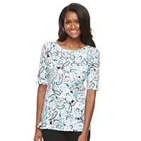 Women's Croft & Barrow® Button-Shoulder Tee