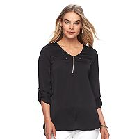 Women's Apt. 9® Zipper Accent Satin Top
