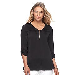 Women's Apt. 9® Zipper Accent Satin Tunic Top