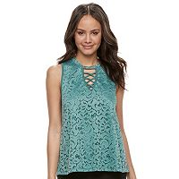 Juniors' Liberty Love Knit Lace Top