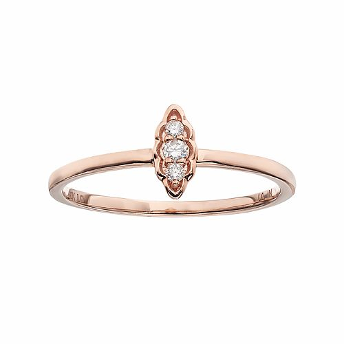 LC Lauren Conrad 10k Gold Diamond Accent Leaf Ring