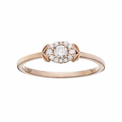 LC Lauren Conrad 10k Rose Gold 1/5 Carat T.W. Diamond Rose Ring