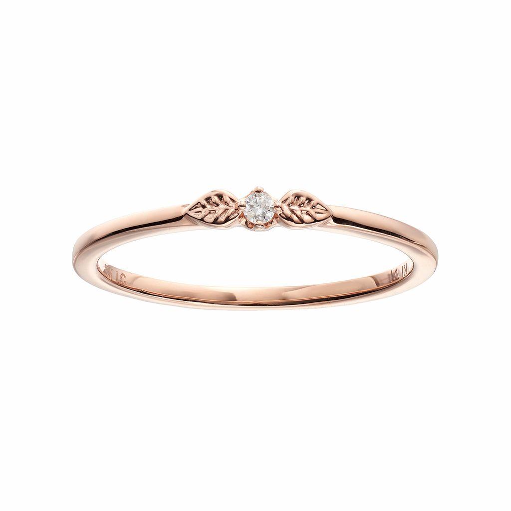 LC Lauren Conrad 10k Rose Gold Diamond Accent Leaf Ring