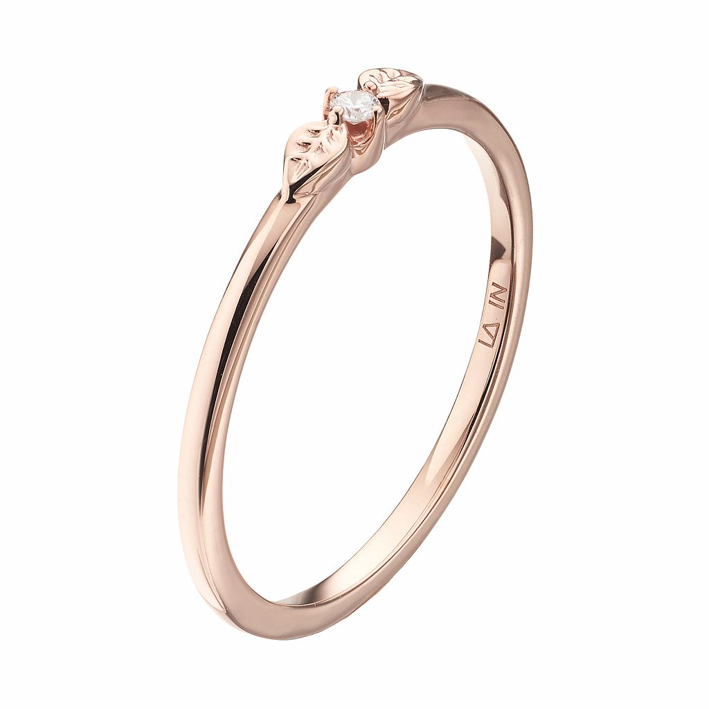 LC Lauren Conrad 10k Rose Gold Diamond Accent Leaf Ring