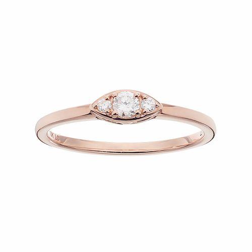 LC Lauren Conrad 10k Rose Gold 1/8 Carat T.W. Diamond 3-Stone Marquise Ring