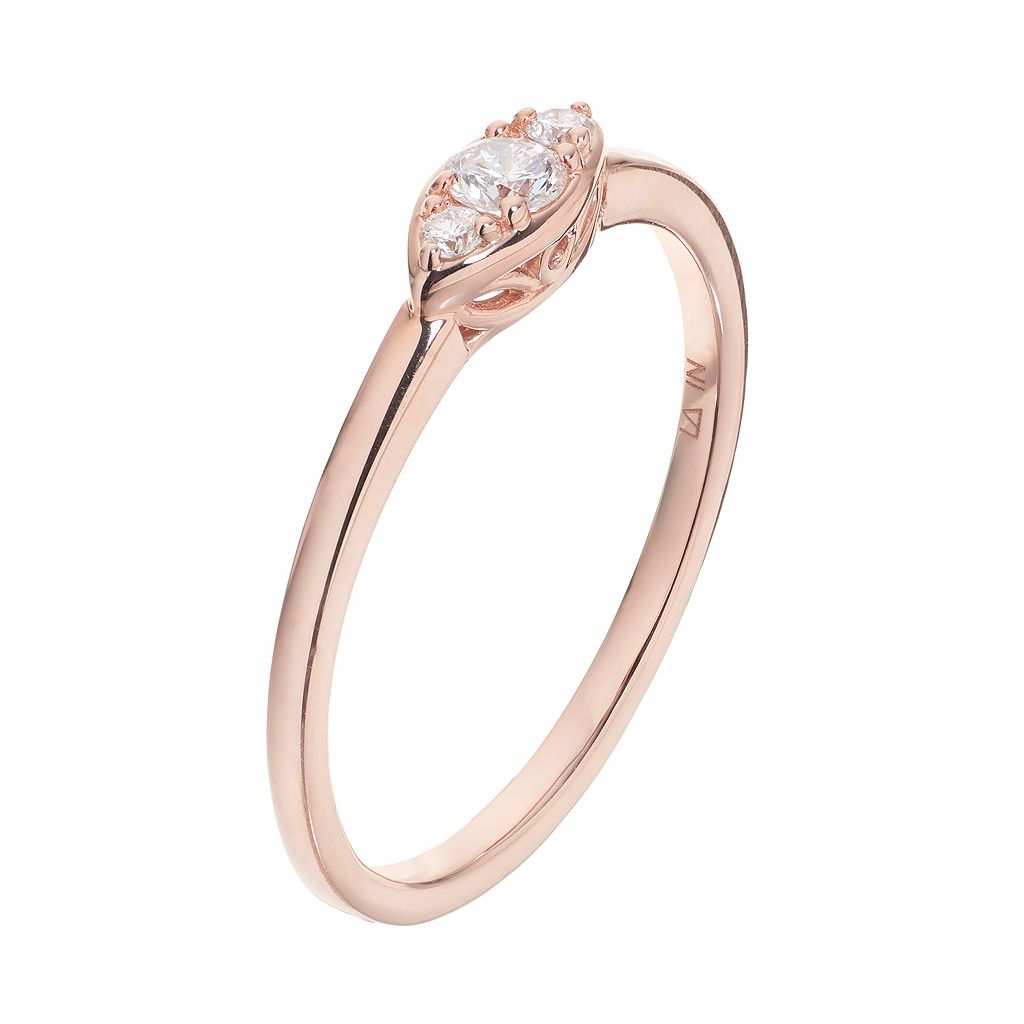 LC Lauren Conrad 10k Rose Gold 1/8 Carat T.W. Diamond 3-Stone Marquise Ring