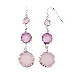 Graduated Purple Stone Drop Earrings