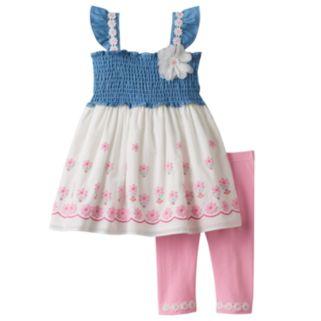Baby Girl Nannette Smocked Chambray Flower Tunic & Leggings Set