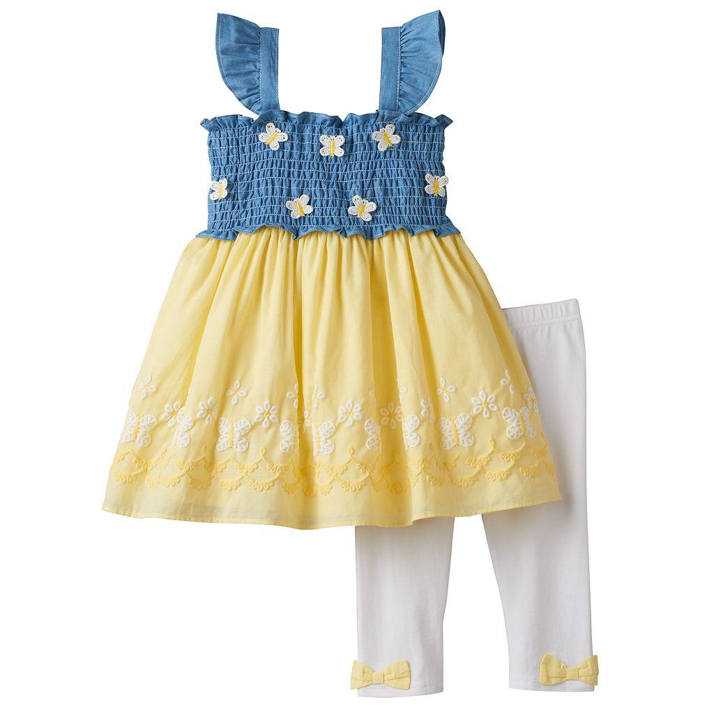 Baby Girl Nannette Smocked Chambray Butterfly Tunic & Leggings Set