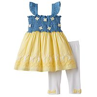 Baby Girl Nannette Smocked Chambray Butterfly Tunic & Leggings Set