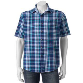 Men's Croft & Barrow™ Modern-Fit Plaid Linen-Blend Button-Down Shirt