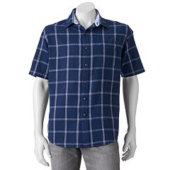 Men's Croft & Barrow™ Modern-Fit Plaid Linen-Blend Button-Down Shirt