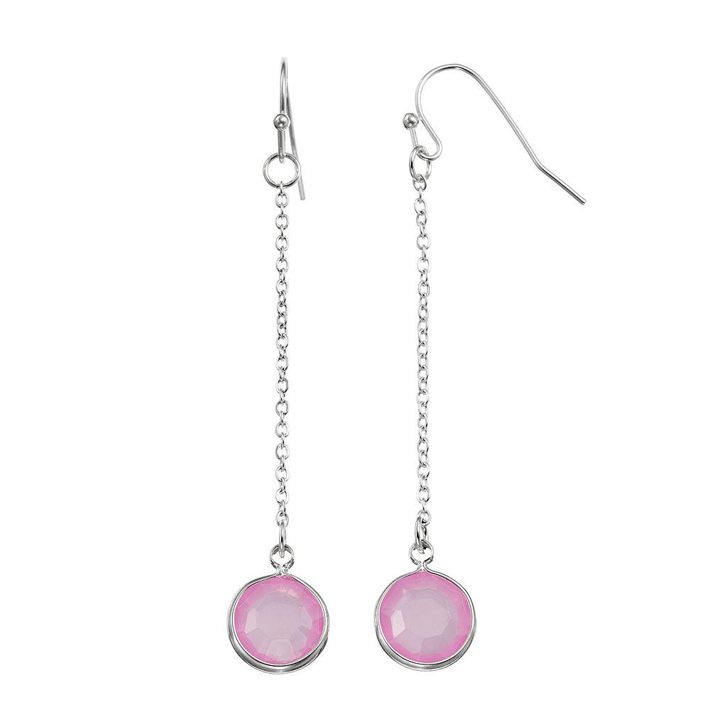 Round Purple Stone Linear Drop Earrings