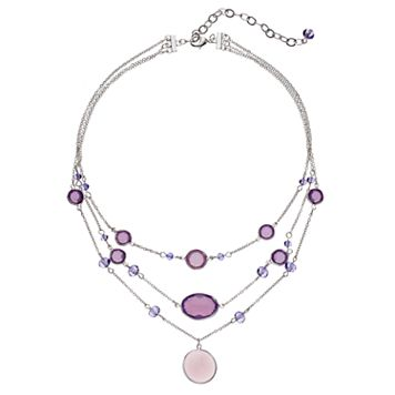 Purple Stone Multi Strand Pendant Necklace