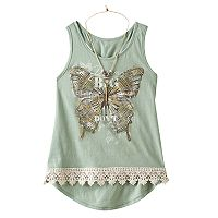 Girls 7-16 Knitworks Lace Hem Graphic Tank Top with Necklace