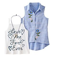 Girls 7-16 Knitworks Embroidered Sleeveless Shirt & Graphic Tank Top Set with Heart Necklace