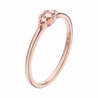 LC Lauren Conrad 10k Rose Gold Diamond Accent 3-Stone Leaf Ring