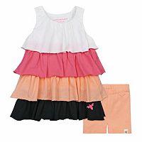 Baby Girl Burt's Bees Baby Colorblock Tiered Dress & Bike Shorts Set