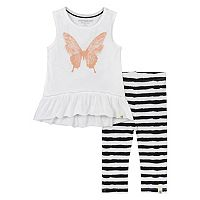 Baby Girl Burt's Bees Baby Butterfly Tunic & Striped Capri Leggings Set