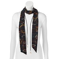 Mudd® Floral Skinny Scarf & Feather Lariat Necklace Set