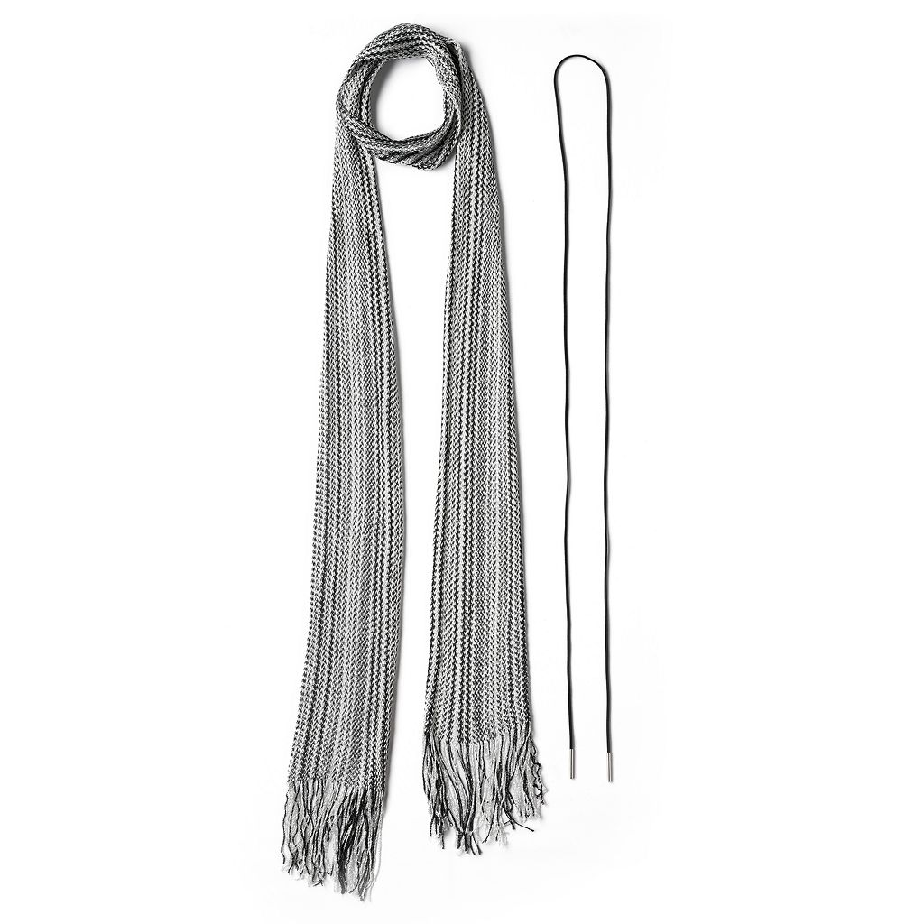 Mudd® Striped Skinny Scarf & Lariat Necklace Set