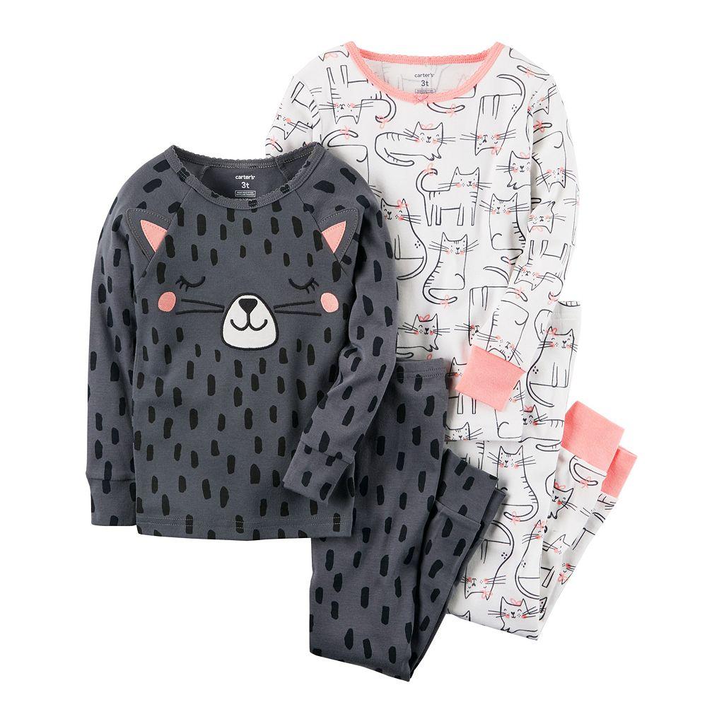 Toddler Girl Carter's 3D Cat Graphic Tees & Pants Pajama Set