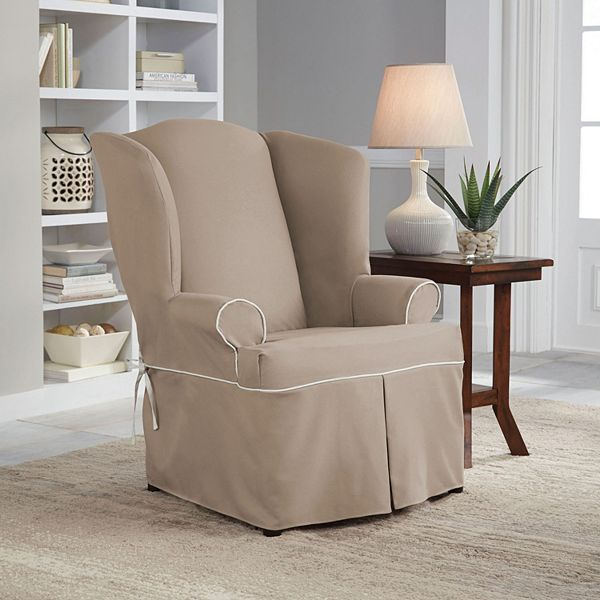 Serta Relaxed Fit Wingback Chair Slipcover, Grey Wingback Chair Slipcover